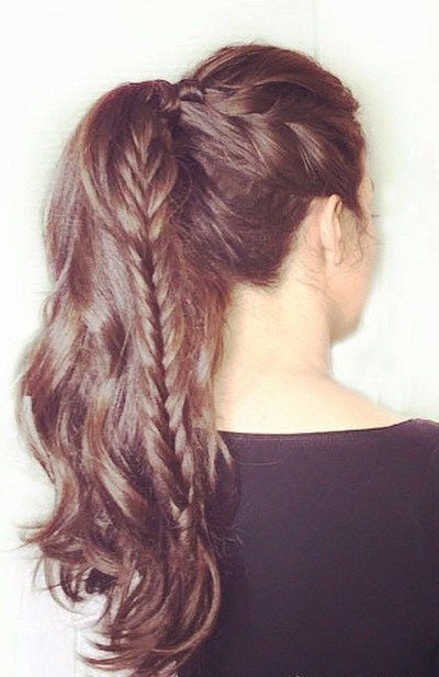 Top Fishtail Hair braid with Ponytail