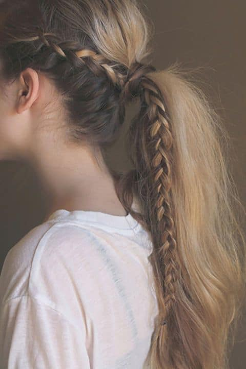 Simple long ponytail with braid wrapped around hair tie