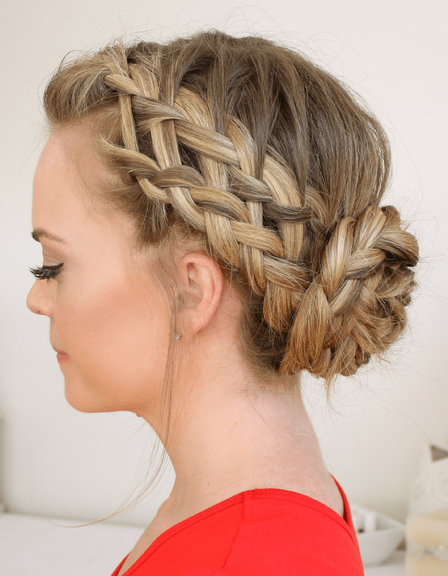 Two Parallel Braid At The Crown Diagonally Meets With An Updo Which Is  Tugged Tightly With Bobby Pins. Well, This Fantastic Hairstyle Can Gain A  Lot Of ...