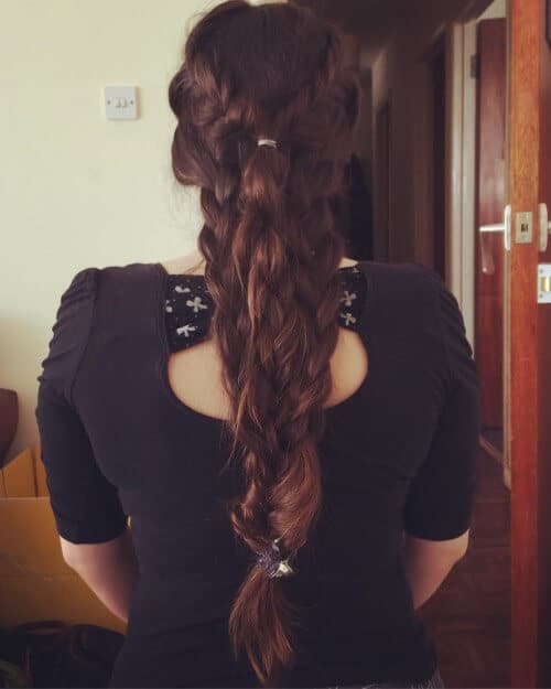 Double plaited mermaid hairstyle for long, luscious hair