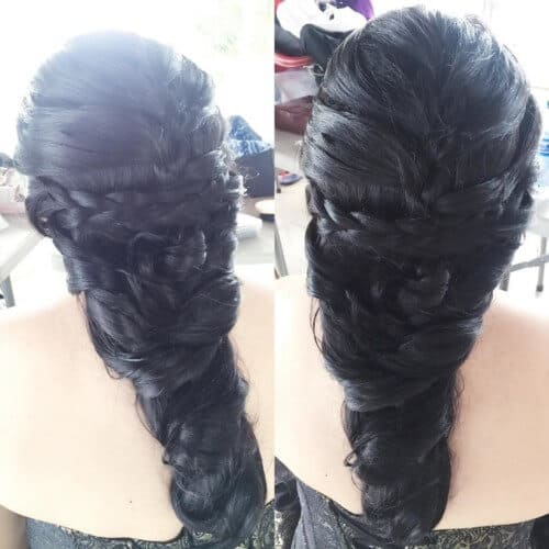 Intertwined messy hairstyle for long hair