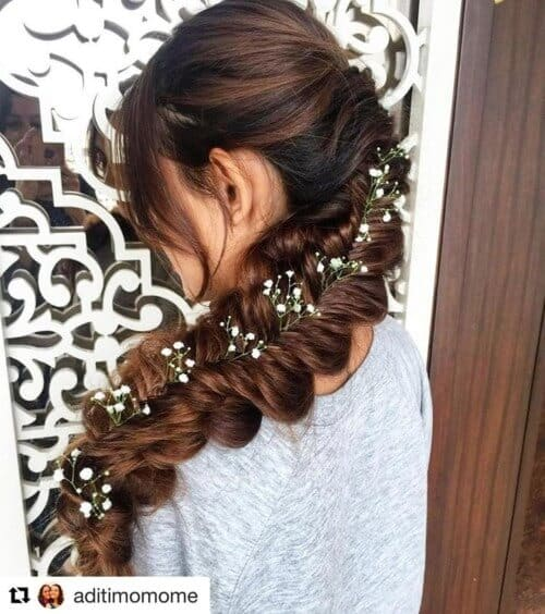 Long flat mermaid plait decorated with flowers