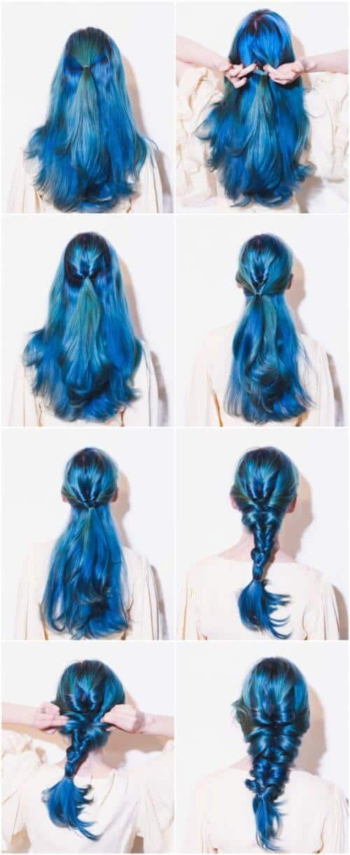 Mermaid Blue Hair Ponytail Braid