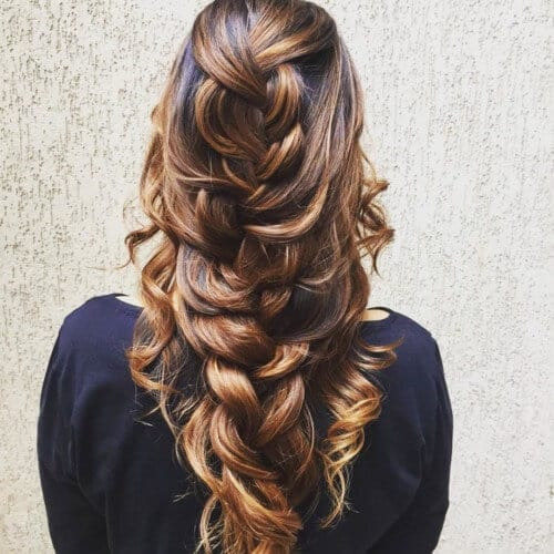 Loose thick mermaid braid hairstyle