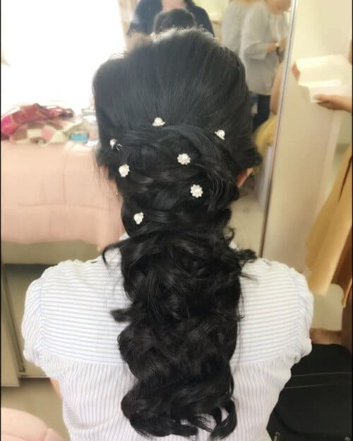 Glam up pony mermaid hairstyle