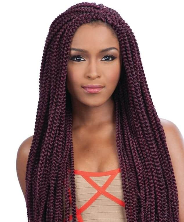 Long Side Parted Box Braid
